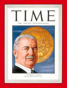 """La copertina che il """"Time"""" ha dedicato a Giannini nel 1946."""