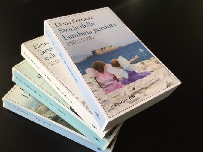 I libri de L'amica geniale, di Elena Ferrante.